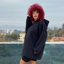Oversize Siyah Kapüşonlu Sweatshirt
