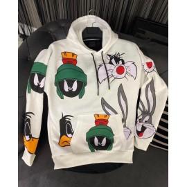 Unisex Beyaz Kapüşonlu Karakter Sweatshirt