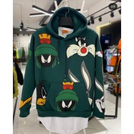 Unisex Yeşil Kapüşonlu Karakter Sweatshirt